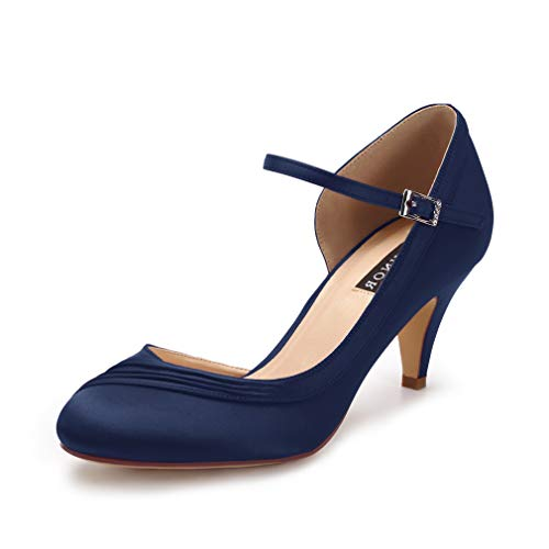 ERIJUNOR E2699 Kitten Heels for Women Comfortable Low Heel Closed Toe Satin Evening Dress Wedding Shoes with Ankle Strap Navy Size 9 -