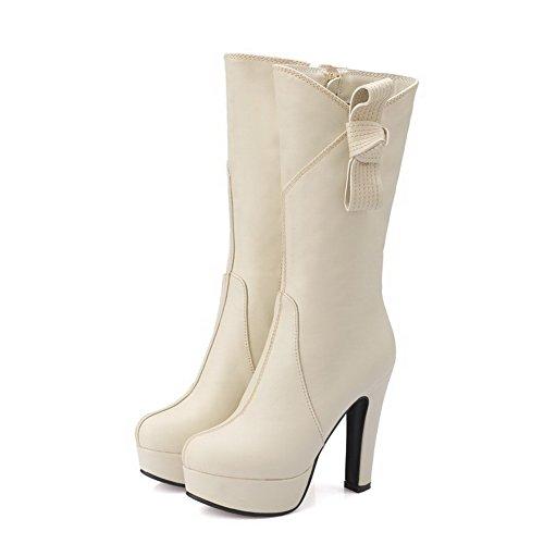 AllhqFashion Damen Hoher Absatz Weiches Material Mitte-Spitze Rein Stiefel Cremefarben