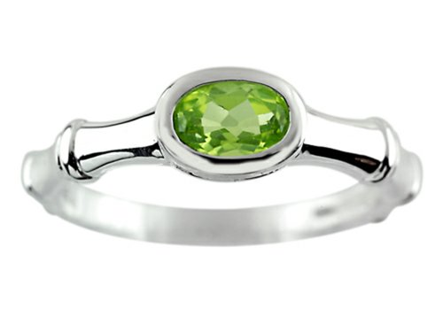 Finejewelers 6x4mm Solitaire Oval Peridot Bamboo Ring Sterling Silver Size -