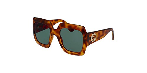 Gucci GG0053S 002 Avana-Avana With Green lenses 54MM - Gucci Avana Sunglasses
