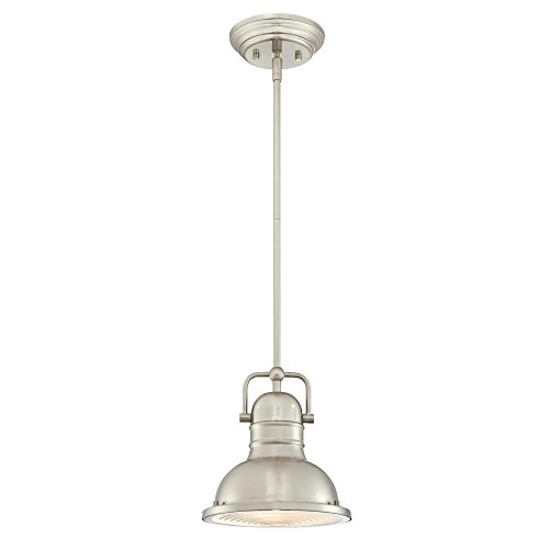 Island Light Kitchen Nickel (Westinghouse 6334600 Boswell One-Light LED Indoor Mini Pendant, Brushed Nickel Finish with Prismatic Lens)