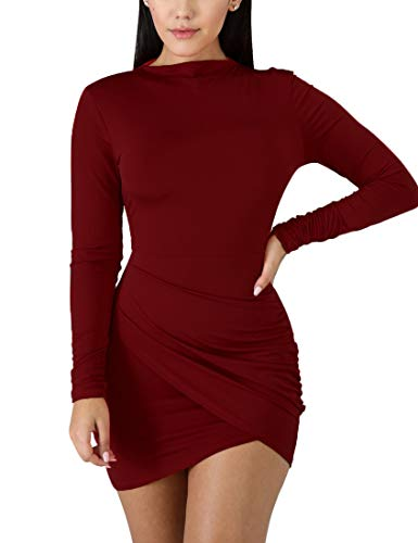 BORIFLORS Women's Sexy Wrap Front Long Sleeve Ruched Bodycon Mini Club Dress,Medium,Wine Red