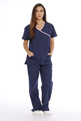 11142W Just Love Women's Scrub Sets / Medical Scrubs / Nursing Scrubs - L, Navy with Light Pink Trim