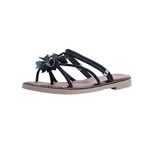 LOVOZO 2019 New Women's Sandals One-Piece Fashion Wild Sandals Women's Summer Flat Slippers Black