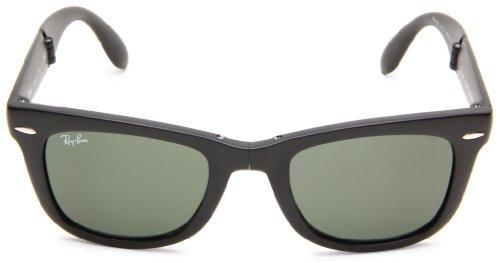 Ray-Ban Folding Wayfarer 601S Wayfarer Sunglasses,Matte Black Frame/Crystal Green Lens,One Size