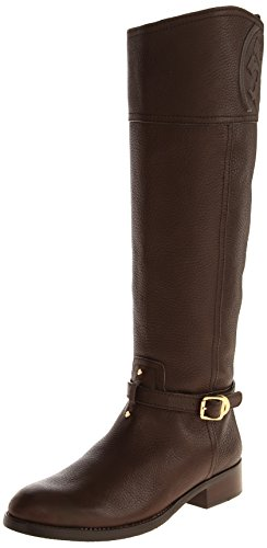 Tory Burch Marlene Leather Logo Knee High Riding Boots (8, Coconut)