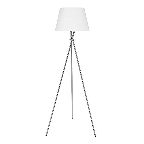 Catalina Lighting 21407-000 Modern Metal Tripod Floor Lamp with White Linen Shade for Living, Bedroom, Dorm Room, Office, without bulb, Brushed Nickel (Lamp Modern Silver Floor)