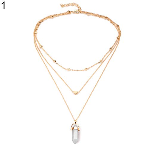 buyanputra Women Fashion Beads Heart Charm Necklace Multi Layer Women Necklace with Hexagonal Rhombus Pendant ()