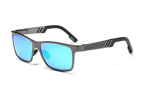 SZLINGKE Brand Designer Polarized Men Square Sport Sunglasses Man Square Aluminum Magnesium Frame Metal Frame Drving Fishing Riding Cycling Sunglasses Retro Classical EyeGlasses (Gun & - Brand Retro Frames Eyeglass