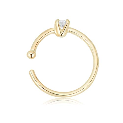 AVORA 14K Yellow Gold 2mm Simulated Diamond CZ Nose Hoop Ring - 20 Gauge by AVORA (Image #1)