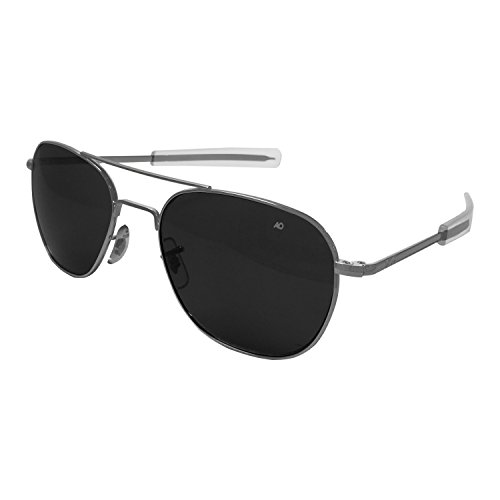 AO Eyewear American Optical - Original Pilot Aviator Sunglasses with Bayonet Temple and Matte Chrome, True Color Grey Glass Polarized Lens