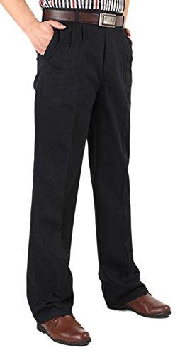 SK Studio Men's No Iron Flat Front Straight Leg Lightweight Pants Black