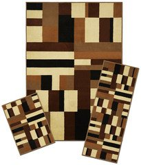 Capri collection 3 piece area rug set area rug with matching runner and mat - Rugs and runners to match ...