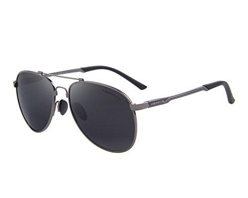 MERRY'S Mens Polarized Aviation Super light Flexible Frame Sunglasses S8716(Gray, 62)