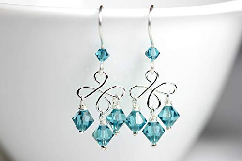 Blue Chandelier Earrings Indicolite Swarovski Crystal Earrings Sterling Silver Earrings -