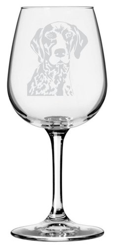 German Shorthaired Pointer Dog Themed Etched All Purpose 12.75oz Libbey Wine Glass