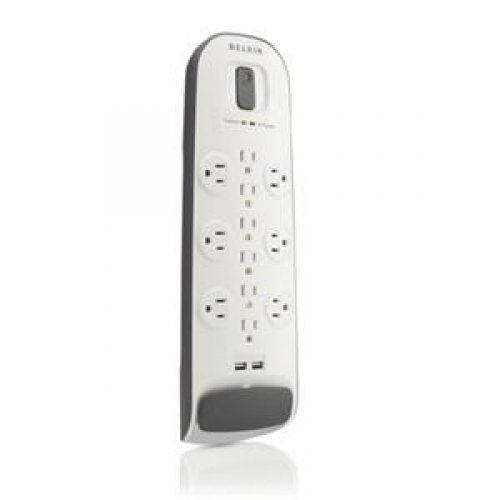Belkin 12-Outlet Surge Protector Power Strip with 2 USB Ports and 6-Foot Power Cord (BV112050-06)