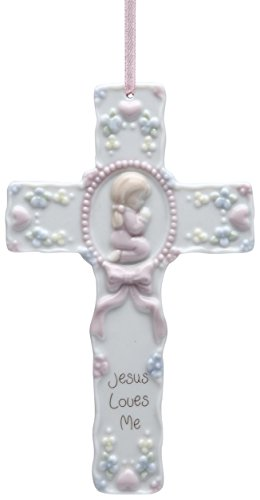 StealStreet SS-CG-10175, 5.5 Inch Jesus Loves Me Ceramic Christmas Ornament Cross with Girl