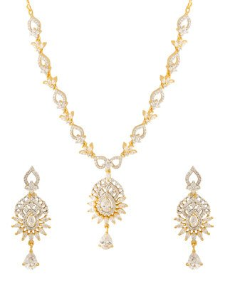 Colors Voylla Navrang Women's Necklace Set Studded With CZ Stones
