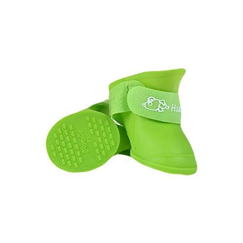 La La Season Anti-Slip Rubber Pet Dog Rain Snow Boots Candy Colors Waterproof Shoe Booties(Green) ()