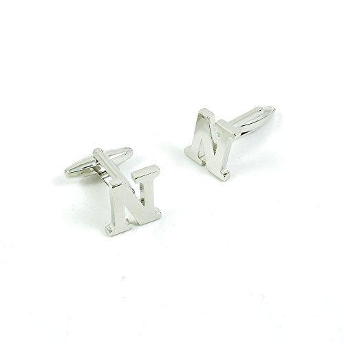 50 Pairs Cufflinks Cuff Links Fashion Mens Boys Jewelry Wedding Party Favors Gift MQN046 Shinning Silver Letter N by Fulllove Jewelry