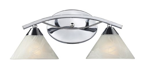 Elk Lighting Chrome Vanity (Elk 17021/2 Elysburg 2-Light Vanity In Polished Chrome)