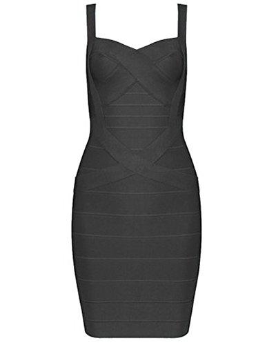UONBOX Women's Rayon Cute Sleeveless Bodycon Bandage Strap Dress (L, Black-Polyester) (Black Bandage Dress)