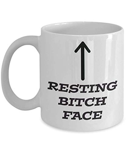 MyFaveGift Resting Bitch Face Funny Adult Humor Coffee Mug Gifts For Women Girlfriend Best Friend Queen 11 Ounces (Best Resting Bitch Face)