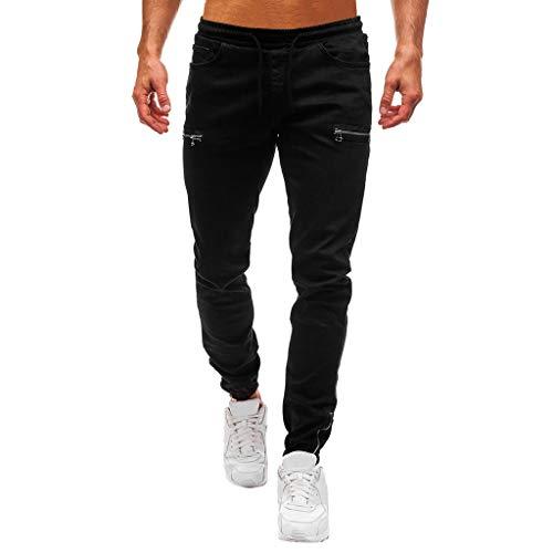 TANLANG ♥Men Pure Color Denim Cotton Vintage Wash Hip Hop Work Jeans Slim Fit Ripped Skinny Distressed Trousers Pants Black