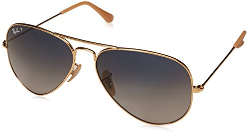 Ray-Ban RB3025 Aviator Polarized Sunglasses, Gold/Polarized Blue Gradient, 58 ()