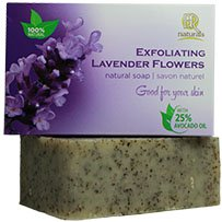 Exfoliating Lavender Flowers Soap Bar - Natural, Vegan, Made with Essential Oils and Real Lavender Flowers 100g BR Naturals