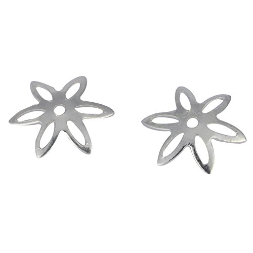 Silver 10mm Wire Flower Beads - 50pcs Genuine 925 Sterling Silver Bead Caps 10mm Star Flower Bead Caps #ss121