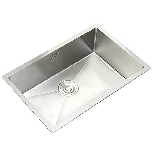 - Kitchen Sinks 304 Stainless Steel Large Single Trough Under Counter Bar Sink Sink Thicker Trumpet (Color : Silver, Size : 604020cm)