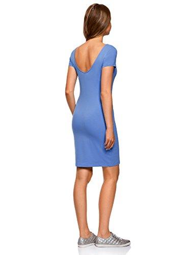 oodji Collection Mujer Vestido Ajustado con Escote Pronunciado en la Espalda Azul (7591P)