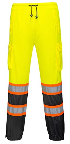 Two Tone Mesh Overpants for Men and Women - Safety Waterproof Work Wear - High Visibility (Large/Extra Large, HiVis Yellow/Black) ()