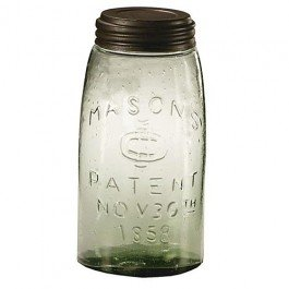 Vintage Glass Fruit - 1 X Mason Fruit Jar - Quart Quart