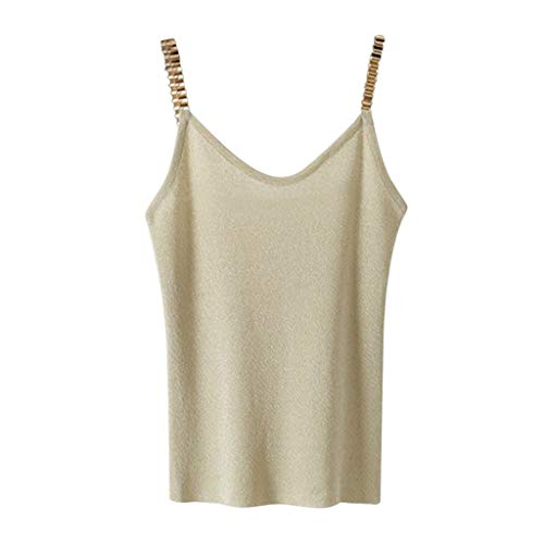 Halter Neck Vest Tops Womens Sleeveless V-Neck Knit Camisole Strap Shiny Glitter Tank Tops by Gyouanime ()