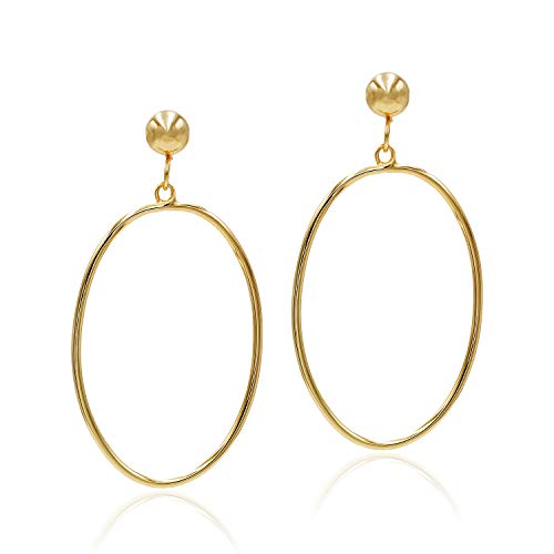 (Sea of Ice Yellow Gold Flashed Sterling Silver Open Oval Drop Dangle Hoop Earrings 5mm Bead Post for)
