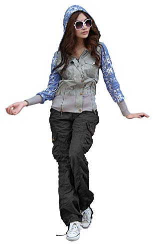 - SKYLINEWEARS Women's Casual Cargo Pants Military Army Styles Cotton Trousers 2809 Black M
