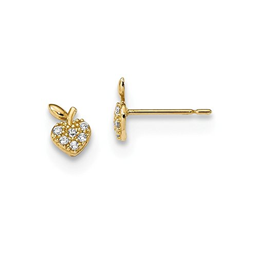 14k Yellow Gold Kids Cubic Zirconia Cz Strawberry Post Stud Earrings Ball Button Holiday Fine Jewelry Gifts For Women For Her