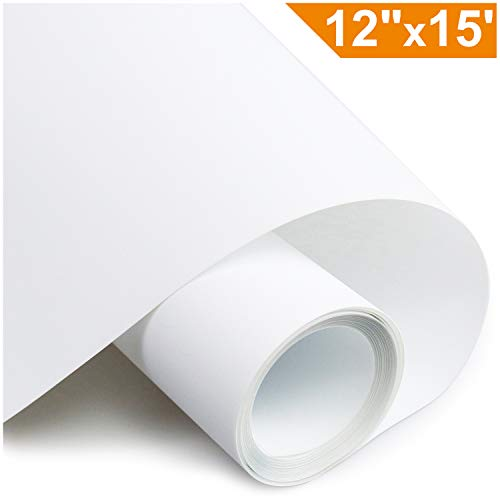 ARHIKY Heat Transfer Vinyl HTV for T-Shirts 12 Inches by 15 Feet Rolls(White)