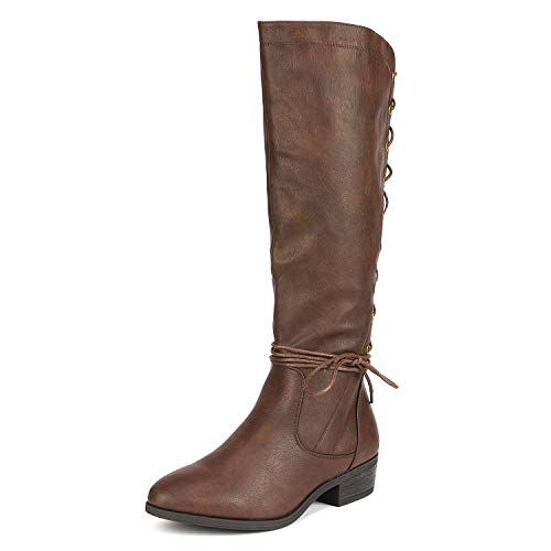 DREAM PAIRS Women's ROICE Brown Knee High Riding Winter Boot