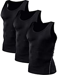 b3b0472dd35a Men s 3 Pack Athletic Compression Under Base Layer Sport Tank Top