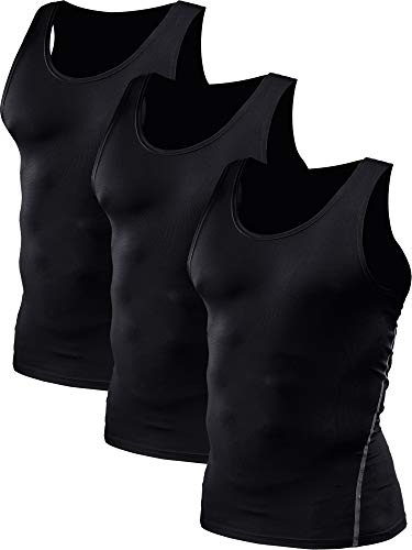 Neleus Men's Athletic 3 Pack Compression Under Base Layer Sport Tank Top,Black,XS,EUR S