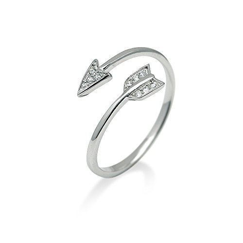 HANFLY 925 Sterling Silver Arrow Ring Fashion Adjustable Ring Minimalist Jewelry (Wrap Arrow Ring)