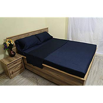 Luxurious 100% Egyptian Cotton 600TC King Size Attached Waterbed Sheet Set Solid Navy Blue ()