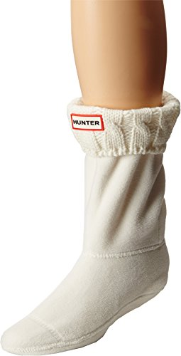 Hunter Women's 6 Stitch Cable Boot Sock - Short Natural White Large