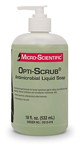 Micro-Scientific OS12-018 Opti-Scrub Antimicrobial Liquid Soap, Broad Spectrum, Non-Drying, 18 oz.