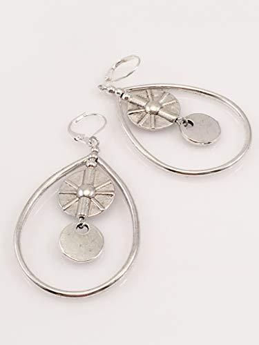 (Antiqued Pewter Spinner Earrings)