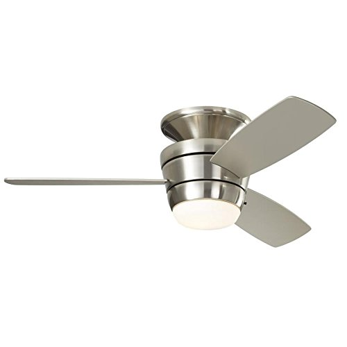 Mazon 44-in Brush Nickel Flush Mount Indoor Ceiling Fan with LED Light Kit with Remote (3-Blade) (Ceiling Fan With 3 Lights)
